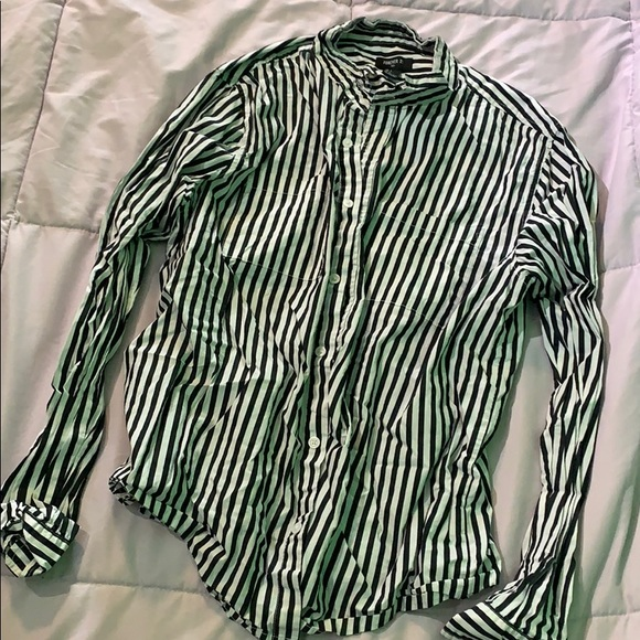 Other - Black & White Striped Button Up Shirt - Forever 21